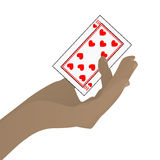 Hand to hold a casino card. Illustration Royalty Free Stock Photo