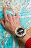 Hand to indicate the route Royalty Free Stock Photo