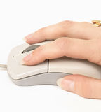 Hand to mouse. On white Stock Photo