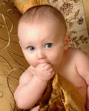 Hand to Mouth. Big eyed baby with hand in mouth Royalty Free Stock Image