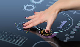 Hand to press the button on the touch screen. Interface, the glass, operator concept Royalty Free Stock Photo