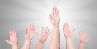 Hand to volunteer. People raise their hand to volunteer Stock Image