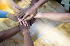 Hand together group office teamwork. Show power of success  concept corporate Stock Photos