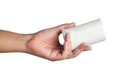 Hand with toilet paper Royalty Free Stock Photos