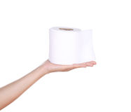Hand with toilet paper roll Royalty Free Stock Photos