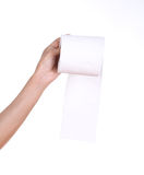 Hand with toilet paper roll Stock Images