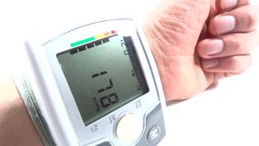 Hand with tonometer stock video footage