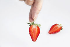 Hand took fruit strawberry Stock Photos