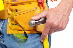 Hand with a Tool belt. Renovation. Royalty Free Stock Images