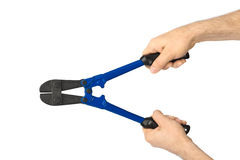 Hand with tool bolt cutters Royalty Free Stock Photo