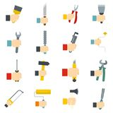 Hand tool icons set vector flat. Hand tool icons set building. Flat illustration of 16 hand tool building vector icons isolated on white background Stock Illustration