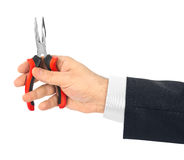 Hand with tool pliers Royalty Free Stock Images