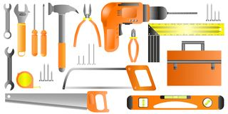 Hand tool set. Collection of equipment for repair - Vector royalty free illustration