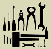Hand tool silhouette set Royalty Free Stock Images