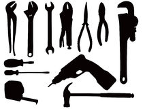 Hand tool silhouettes Royalty Free Stock Photography