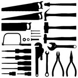 Hand tool silhouettes Stock Photography