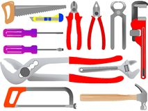 Hand tools. Isolated on white background, abstract vector art illustration Stock Photos