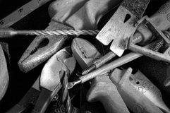Hand tools. In black and white grunge Stock Images