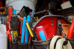 Hand tools built in tool bag in accessories. Background stock image