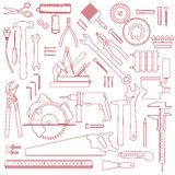 Hand tools and construction equipment Royalty Free Stock Images