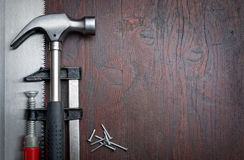 Hand tools with copy space Royalty Free Stock Photography