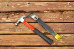 Hand tools for fixing old Deck Royalty Free Stock Images