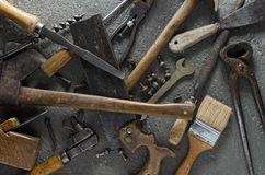 Hand Tools. Gritty hand tools and other bits of grungy hardware Royalty Free Stock Images