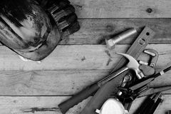 Hand tools and helmet Royalty Free Stock Photos