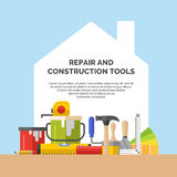 Hand tools for home renovation. And construction. Tools in a bright, flat style. A colorful poster ,  illustration Stock Image