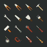 Hand tools icon set , flat design Royalty Free Stock Photos