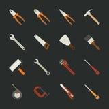 Hand tools icon set , flat design royalty free illustration