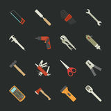 Hand tools icon set , flat design Royalty Free Stock Photography