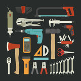 Hand tools icon set , flat design Stock Photo