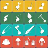 Hand tools icon set vector. Flat Design Royalty Free Stock Photos