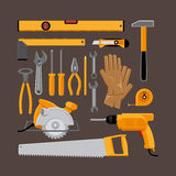 Hand tools icons in flat style Stock Photography