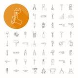 Hand tools icons , thin icon design royalty free illustration