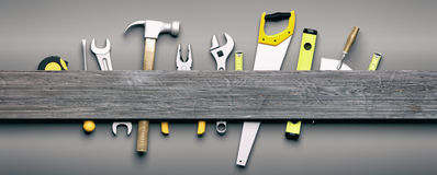 Hand Tools On Grey Wooden Background. 3d Illustration Royalty Free Stock Images