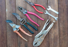 Hand tools. Over wooden floor stock photo