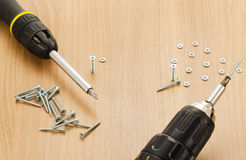 Hand tools. Tools and screws closeup on wooden texture Stock Photography