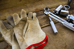 Hand tools set on wooden background Royalty Free Stock Photo