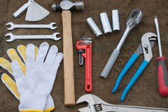 Hand tools set or Work tools set background Stock Photos