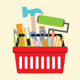 Hand Tools In Shopping Basket Stock Photo