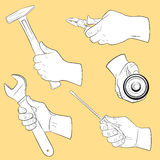 Hand tools in use. Set vector illustration