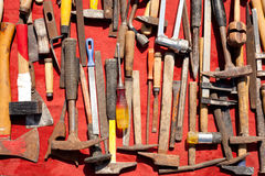 Hand tools used rusty iron aged and grunge Royalty Free Stock Image