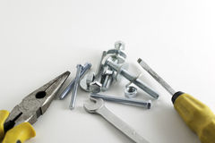 Hand tools on a white background Royalty Free Stock Photo