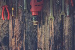 Hand Tools on Wood Background.  Stock Photos