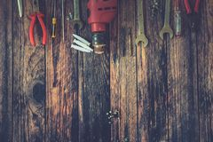 Hand Tools on Wood Background.  Stock Photo