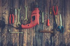 Hand Tools on Wood Background.  Royalty Free Stock Photography