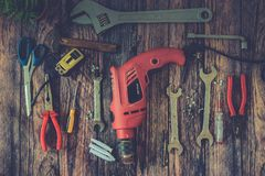 Hand Tools on Wood Background.  Royalty Free Stock Image