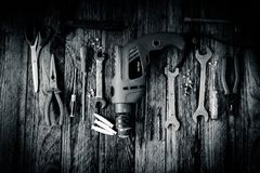Hand Tools on Wood Background.  Royalty Free Stock Photo